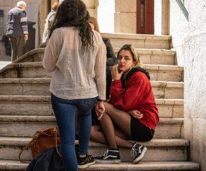 Girls on Lisbon steps