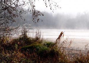 Grolejac lake, misty early morning