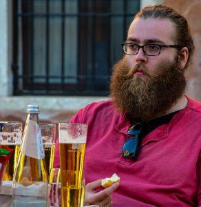 Bearded beer drinker